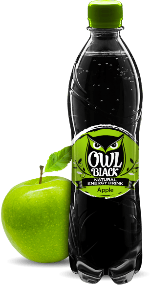 Owl Black - Natural energy drink - Apple